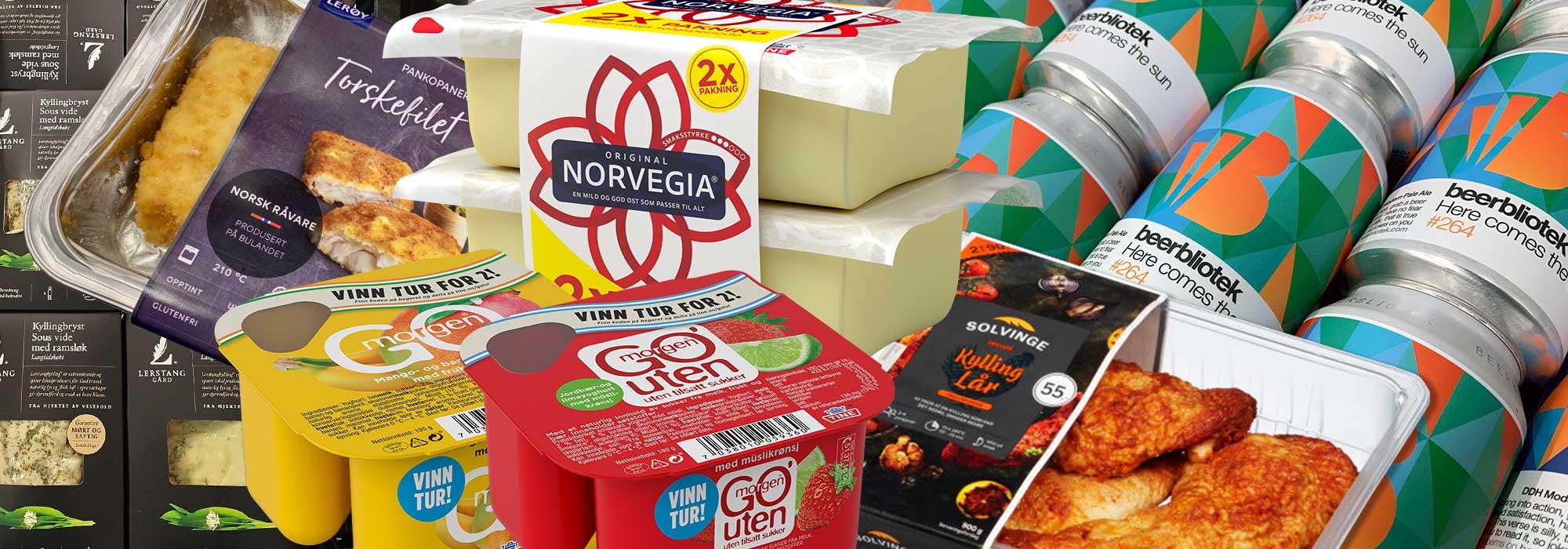 Flere etikettvarianter på emballasje satt sammen
